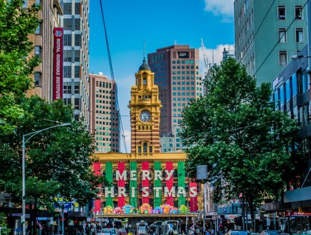 Melbourne Christmas at Flinders St Station.