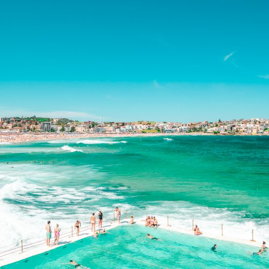 Overlooking the Bondi Icebergs open water swimming pool at Bondi Beach in Sydney, Australia