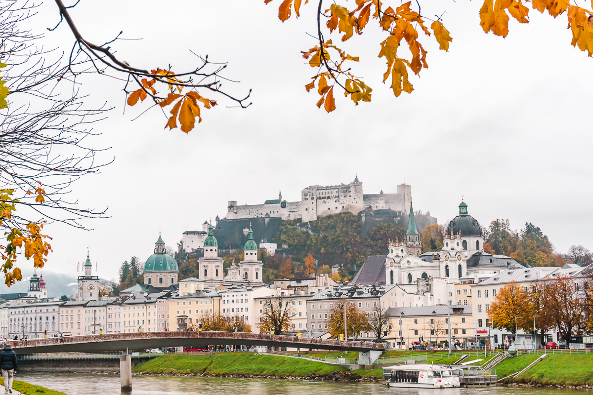 Autumn in Salzburg, looking over the river towards Hohensalzburg Fortress.